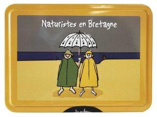 """Caramels au beurre salé boîte 100g décor """"Nudistes en Bretagne"""""""