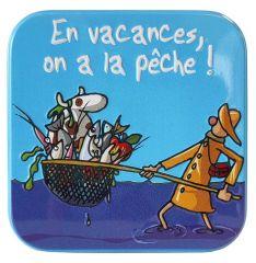 """Caramels au beurre salé boîte 45g décor """"En vacance, on  a la pêche"""""""