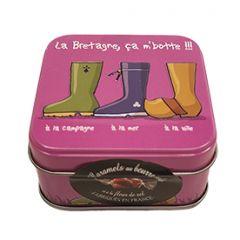"""Caramels au beurre salé boîte 45g décor """"ça m'botte"""""""