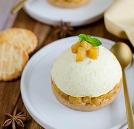 Dôme Mangue, Ananas rôti et galette au Rhum
